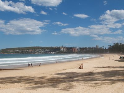 Manly beach on a beautiful sunny day.